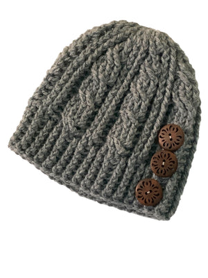 Heather Grey - Crochet Beanie Hat with Eco Artisan Button Accent
