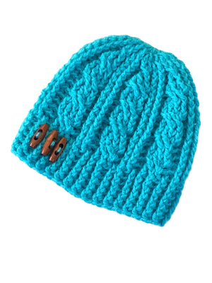 Bright Cyan - Crochet Beanie Hat with Artisan Craft Button Accent
