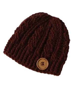 Cabernet - Crochet Beanie Hat Featuring an Eco Artisan Button Accent