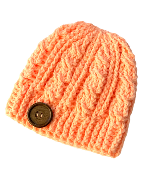 Dreamsicle - Crochet Beanie Hat Featuring an Eco Artisan Button Accent