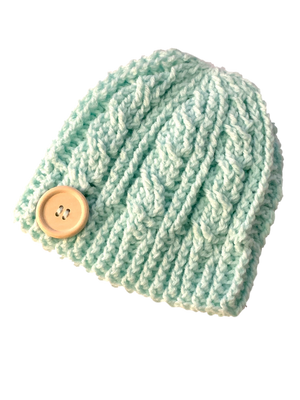 Minty - Crochet Beanie Hat Featuring an Eco Artisan Button Accent