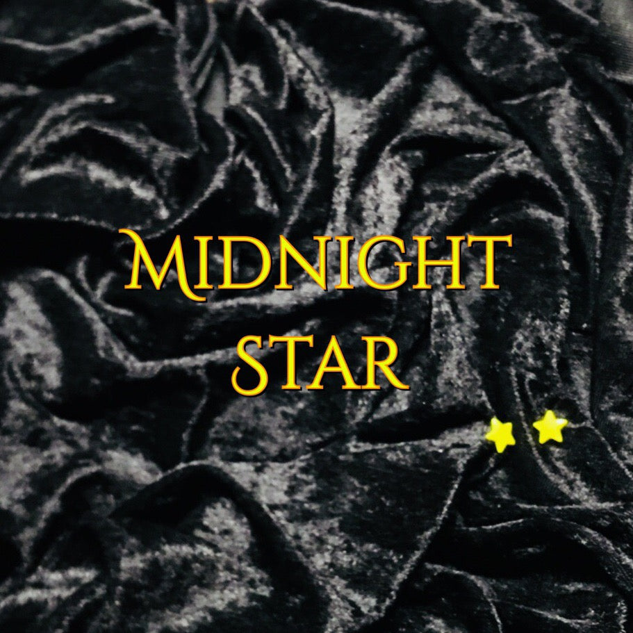 LIMITED EDITION! Midnight Star - Featuring a Yellow Star Top Snap and Black Windpro Fleece Back! - Luxury Crushed Velvet