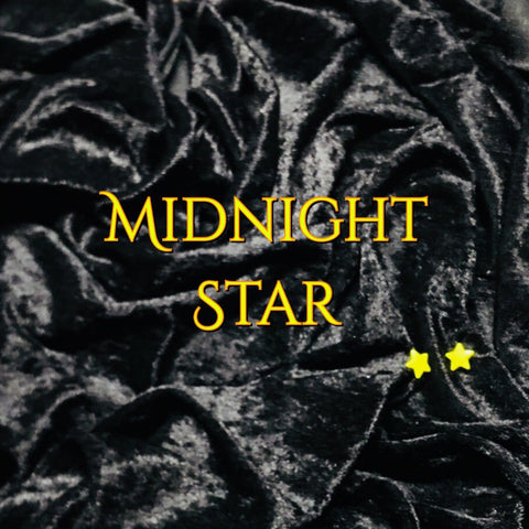 LIMITED EDITION! Custom Order - Luxury Crushed Velvet - Midnight Star - Featuring a Yellow Star Top Snap and Black Windpro Fleece Back!