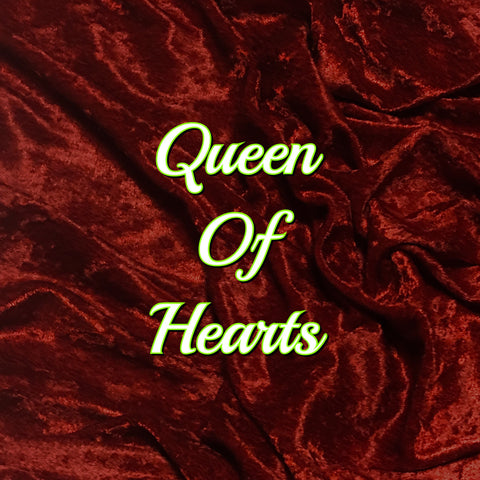 Custom Order - Luxury Crushed Velvet - Queen of Hearts! Featuring a Black Heart Top Snap!