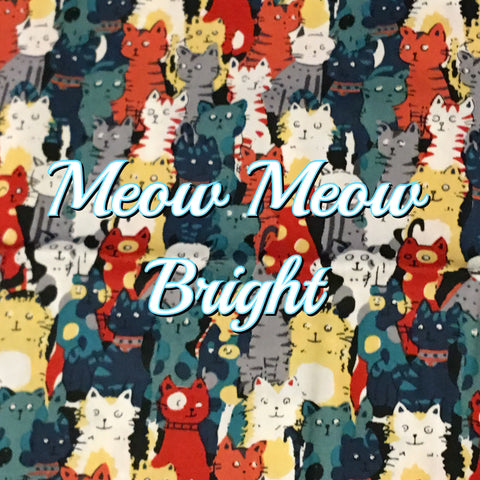 Custom Order - Meow Meow Bright - Quilter's Cotton