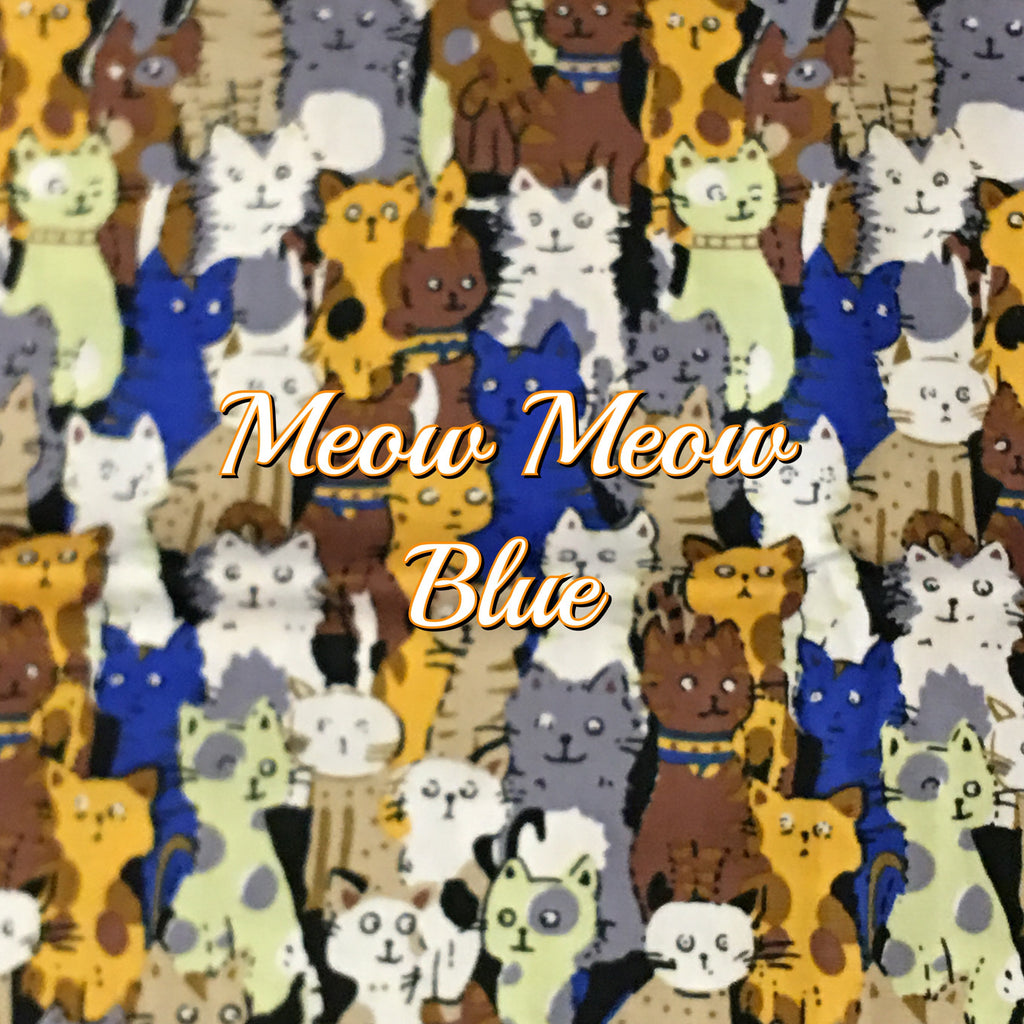 Custom Order - Meow Meow Blue - Quilter's Cotton