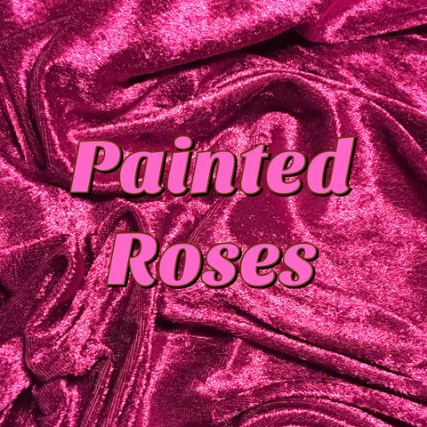 Custom Order - Luxury Crushed Velvet - Painted Roses
