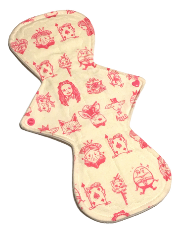13 Inch Curve NINJA (moderate-heavy) Absorbency Cotton Twill Topped Pad in We're All Mad Here!