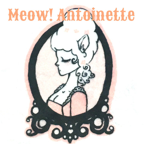 Custom Order - Meow! Antoinette - Limited Edition Specialty Minky Print Featuring a Black Heart Top Snap and Premium Ivory Windpro Fleece Bakcing!