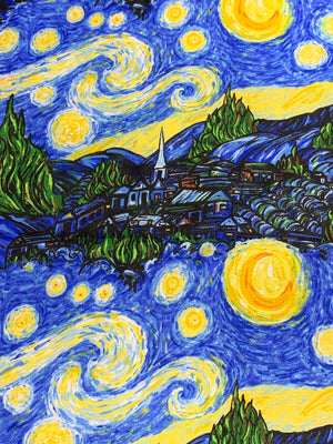 Starry Night - Quilter's Cotton Featuring Yellow Star Top Snap!
