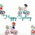 Happy Cycling *Limited Edition! - Quilter's Cotton - Featuring Ivory Back & Red Heart Top Snap!