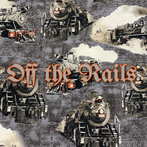Off the Rails *Limited Edition! - Quilter's Cotton - Featuring Ivory Back & Metallic Steel Colored Top Snap!