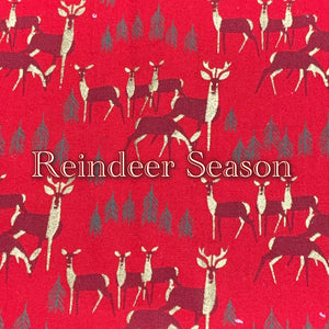 Limited Edition! Reindeer Season - Quilter's Cotton Featuring Metallic Golden Accents, Ivory Back and Metallic Golden Colored Snaps!