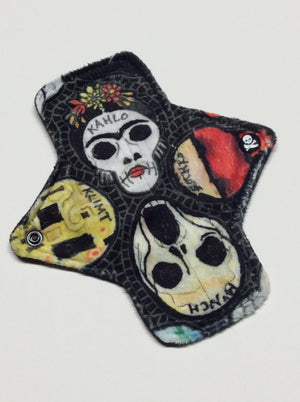 7 Inch Minky Topped Moderate Absorbency Pad in Artist Skullz - Featuring Skull Engraved Top Snap!