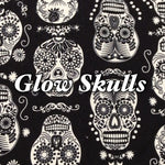 Limited Edition! Glow Skulls - Quilter's Cotton - Featuring Glow in the Dark Skull Print & Glow in the Dark Snaps!