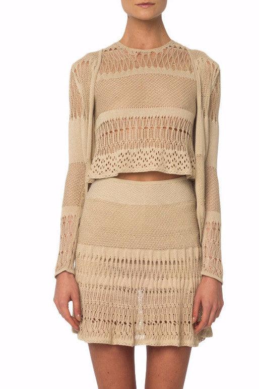 Beige Crochet Knit Cardigan