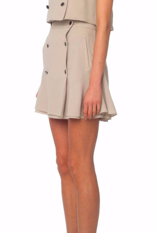 Beige Crepe Military Skirt