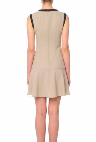 Beige Crepe Pleated Dress