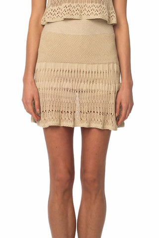 Beige Crochet Knit Skirt