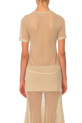 Beige Mesh Knit Short Sleeve Top