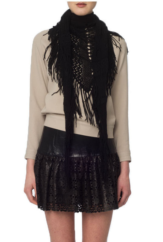 Black Crochet Knit Scarf w/ Fringe