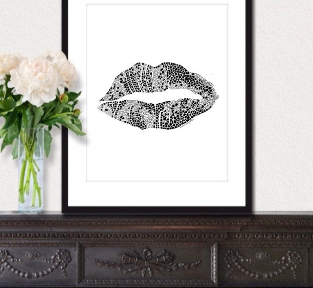 Abstract Lips Print