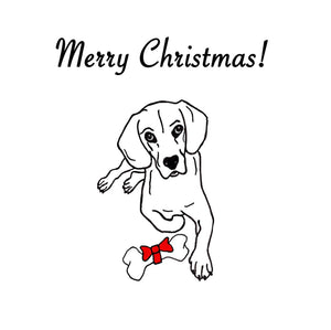 Merry Christmas Greeting Card - Dog with Bone