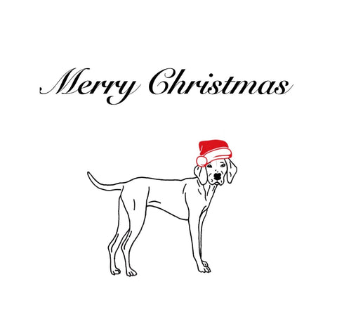 Merry Christmas Greeting Card - Dog with Santa Hat