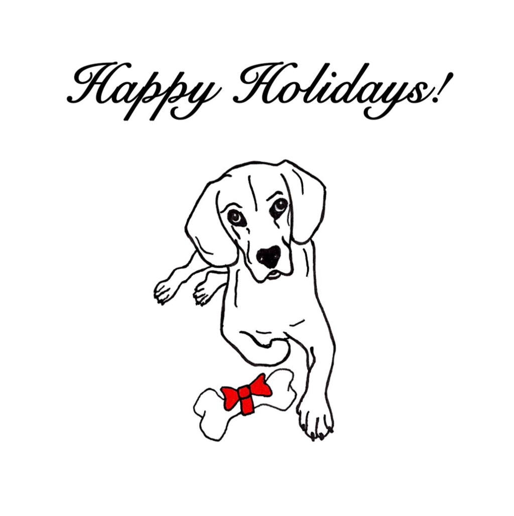 Happy Holidays Card - Dog With Bone