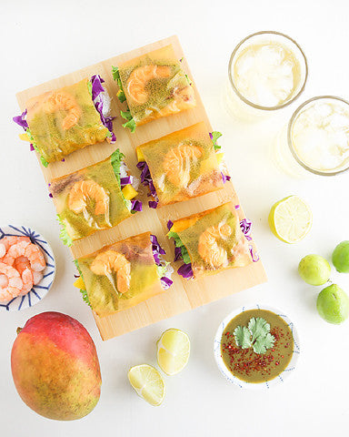 Shrimp & Mango Spring Rolls with Green Tea Curry Sauce
