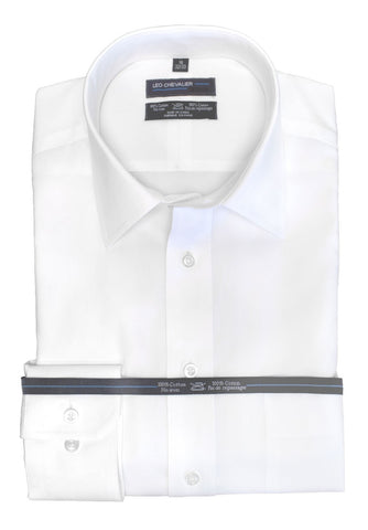 Leo Chevalier - Classic Fit Dress Shirts -100% Cotton - Non Iron - Pin Point Oxford - 225170-White-01