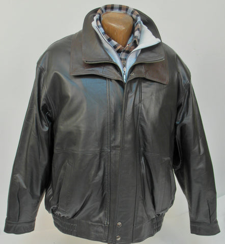 Regency by LaMarque - Double Collar Bomber Leather Jacket - 2655119ZO