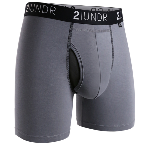 "2UNDR - 6"" Swing Shift Boxer Briefs - 2U01BB - Grey/Black"