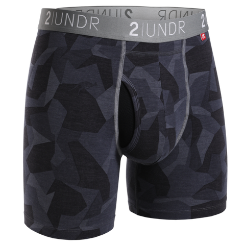 "2UNDR - 6"" Swing Shift Boxer Briefs - 2U01BB - Black Camo"