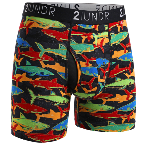 "2UNDR - 6"" Swing Shift Boxer Briefs - 2U01BB - Shark Fest"