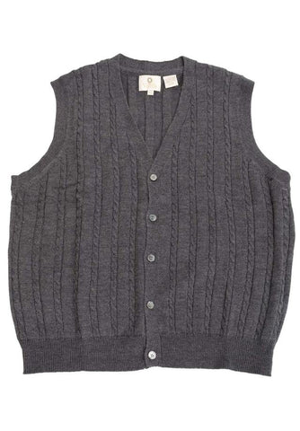 Viyella - Merino Wool - Button Down Cable Knit V-Neck Sweater Vest - 255616-2