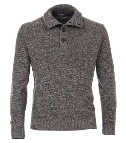 Casa Moda - Quarter-Buttoned Knit Sweater - Wool/Cotton - 493232700 - Clearance