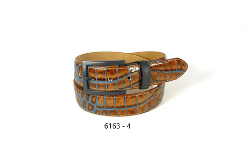 Bench Craft - Croco with Blue Casual Belt - 35MM - 6163