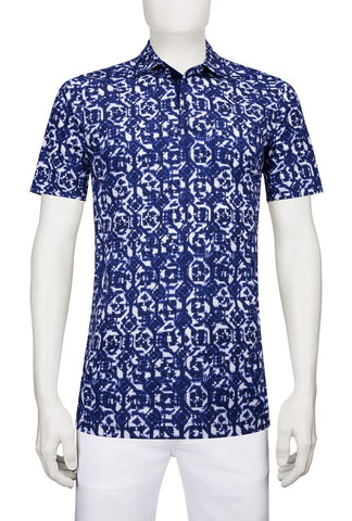 Polo Shirt Fancy Print Navy Bugatchi JF2508F21
