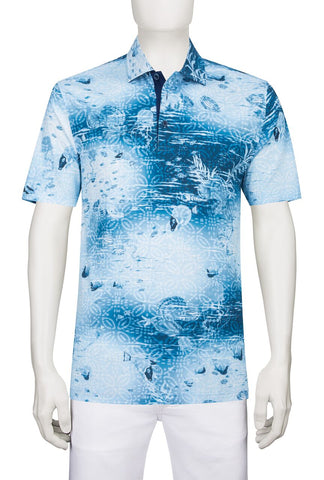 Tropical Ocean Print Golf Shirt with Fish pattern Bugatchi JF2534F21