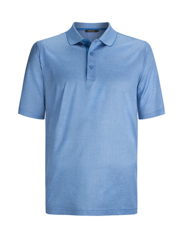 Solid Blue Polo Golf Shirt Premium matieral Bugatchi Brand LCF3500F59