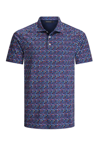 Navy Fancy Print Golf Shirt Polo Shirt Bugatchi
