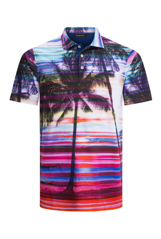 Tropical Print Hawaiian Golf Shirt Polo Shirt Bugatchi