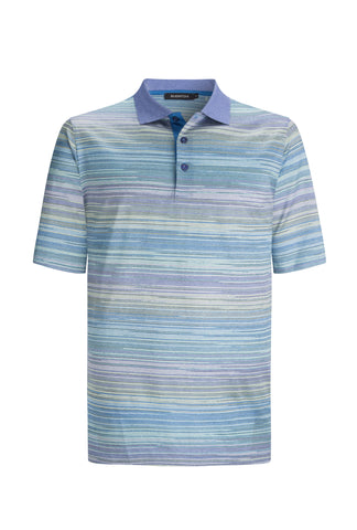 Striped Fancy Golf Shirt Polo by Bugatchi Jade Colour