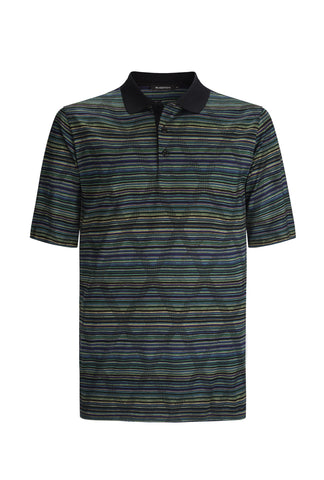 Dark multi-colour striped Golf Polo by Bugatchi