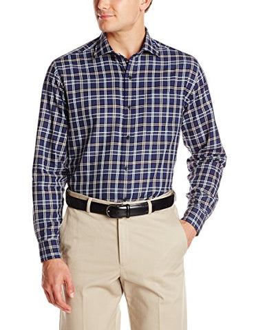 Cutter & Buck - Long Sleeve Navy Plaid - MCW00110 Clearance