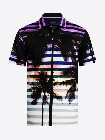 Bugatchi - Sunset Palm Printed Polo Shirt - Mercerized Cotton - Modern Fit - RF4556F21