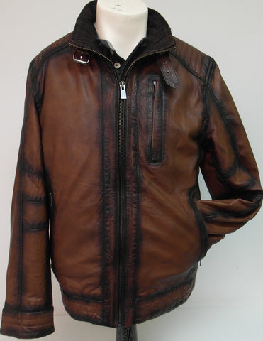 Regency - Stand-up Collar Leather Jacket - SHANE