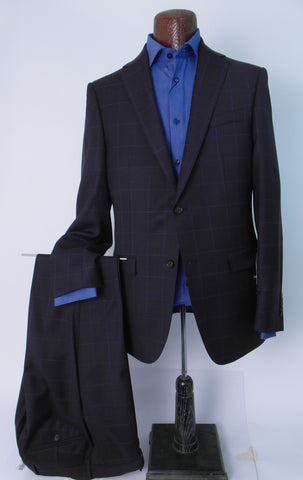 S. Cohen - Perpetual Performance SUIT SEPARATES Jacket - 7358SPS - Modern Fit - Wine/Copper Mix with Blue Windowpane
