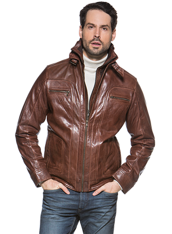 Regency by LaMarque - Double Collar Leather Jacket - MEMPHIS-B